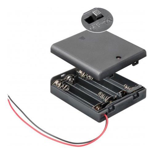 Batteriehalter | 4X AA Mignon | mit EIN Aus Schalter | lose Kabelenden | geschlossenes Gehäuse | wasserabweisend | schaltbar | Batteriefach Akkuhalter Aufbewahrungsbox | 1 Stück