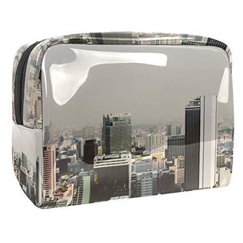 City Buildings Cityscape Waterproof Cosmetic Bag 18.5x7.5x13cm Cosmetic Makeup Bag Brush Holder