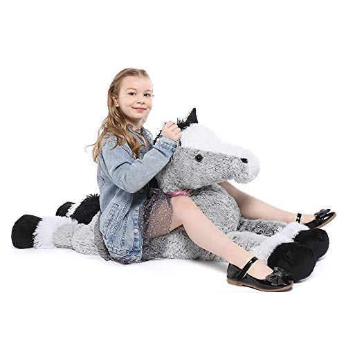 Tezituor Giant Horse Stuffed Animal Large Pony Grey Plush Toy Horse Big Gift for Kids47 Inches
