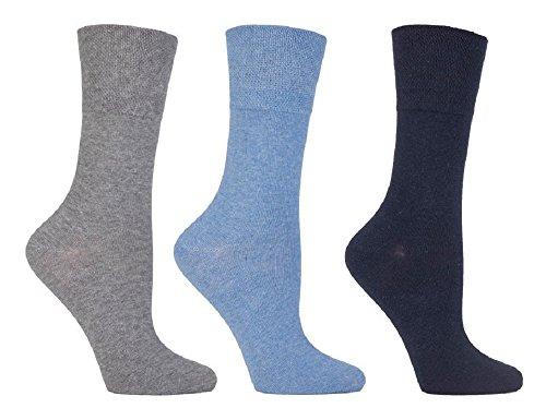 Gentle Grip 6 Paar Damen Sockshop Diabetic Socken 4-8uk 37-42eur Blau/Grau
