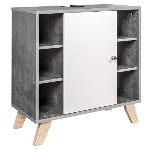 EUGAD Waschbeckenunterschrank Unterschrank Badezimmerschrank Waschtisch Badschrank mit Tür 60 x 30 x 62 cm Weiß