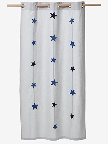 Vertbaudet Kindergardine mit Sternen-Girlanden grau/Sterne 105X240