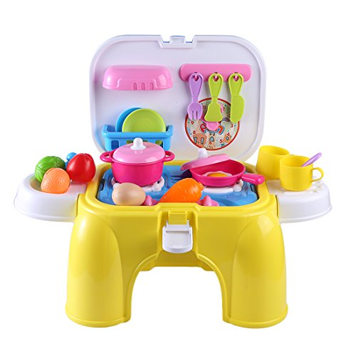 Price comparison product image Wolfbush Kitchen Accessory Set Cooktop Set Kitchen Playset with Play Food and Retractable Storage Chair for Children - Yellow