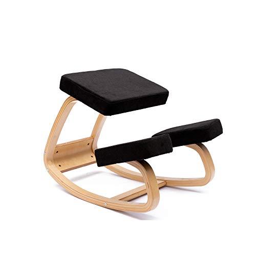 JZGORC Sedia ergonomica inginocchiato Grande Home Office o Sedia da scrivania (Tessuto-Nero)