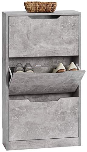 ts-ideen Zapatero estantería zapatero para baño, pasillo, pasillo, estante, aspecto de hormigón, gris, 3 compartimentos, extra estrecho, 108,5 x 60 x 17 cm