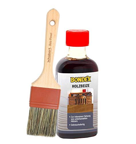 Bondex Holzbeize inkl. Beizpinsel, Wasserbeize in 20 Farbtönen zur Auswahl (250 ml, teak gelblich)