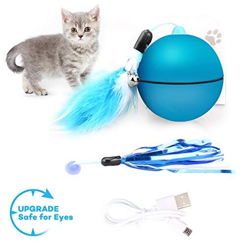 Kaufam Katzenspielzeug Ball, Interaktives Spielzeug Katzenball mit Licht Federschwanz, Automatische Lenkung, Sicher und Ungiftig Haustier Übungsbälle - Blau