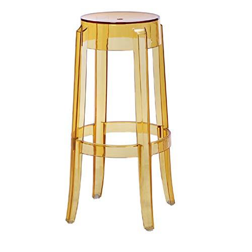 PLL 75cm transparante gele plastic kruk verdikt acryl eetstoel kristal barkruk stoel stoel creatieve hoge vlamel hoge vlamel