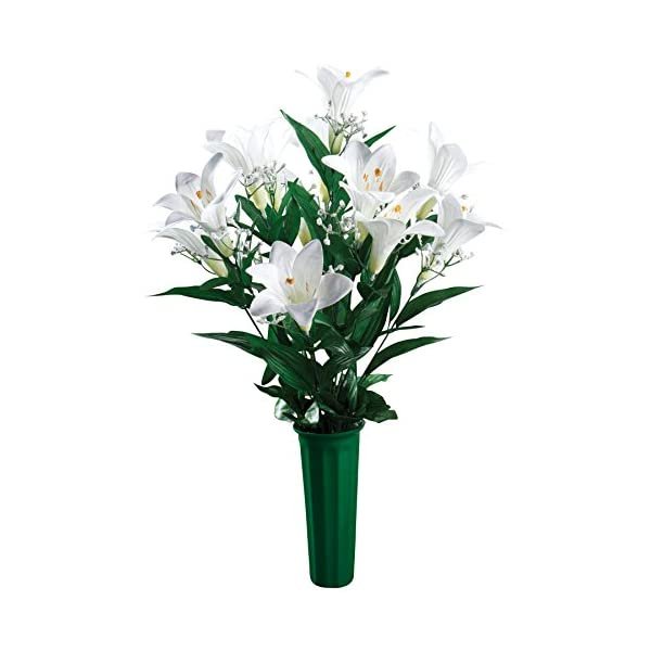 "OakRidge Easter Lily Memorial Bouquet Silk Floral Indoor/Outdoor Décor, 23"" High"