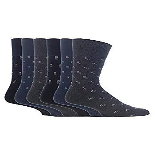 Gentle Grip - 6 Paar Herren-Socken mit Wabenstruktur, Baumwollanteil, in Bigfoot Größe 46-50 Gr. X-Large, Spots Somrj43