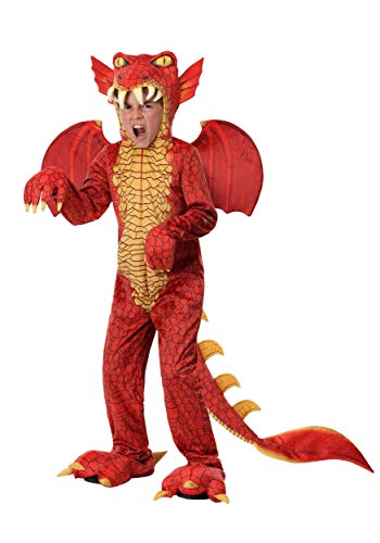 Child Red Dragon Costume Dragon Onesie Jumpsuit for Kids - M