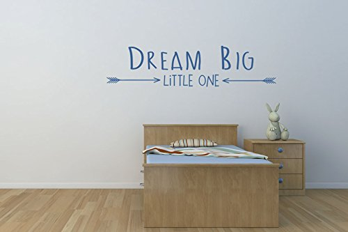 Dream Big Little One Tribal flèches tendance en vinyle Art Mural en vinyle Couleur Bleu Mat Kids Nursery Chambre Home Decor