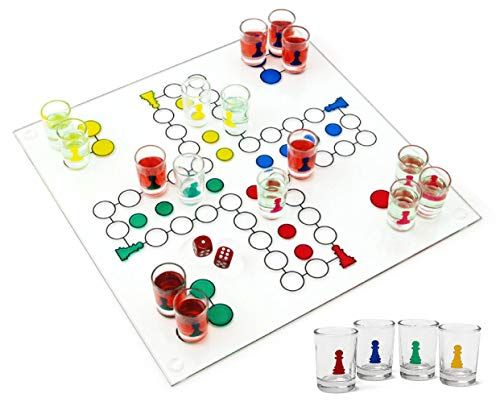 Matty's Toy Stop Ludo Drinking Game (Parcheesi) with 16 Shot Glasses, 2 Dice & Glass Game Board