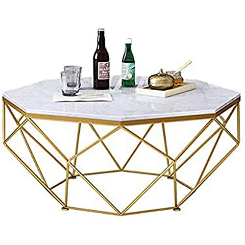 Mid Century Modern Marble Coffee Tables for Living Room Bedroom Home Office, Metal Wrought Iron, Geometric Design, Gold, Available in 3 Size,Gold,67 cm