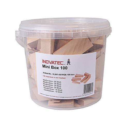 100 x Inovatec Holz Keile Hartholzkeile Buchenholz, natur, gemischte Auswahl in praktischer Kunststoff Box