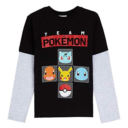 Pokémon Tee Shirt Enfant, T-Shirt Coton Manches Longues pour Garcon avec Pikachu, Salamèche, Bulbizarre Et Carapuce, Idée Cadeau Garcons Et Adolescent 3-13 Ans (Noir, 9-10 Ans)