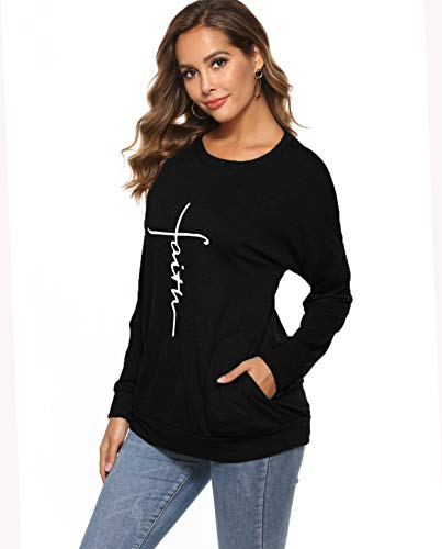 ZILIN Women's Casual Letter Print Crewneck T-Shirt Long Sleeve Tunic Tops Sweatshirt with Pockets