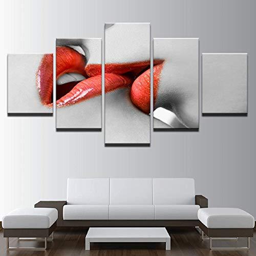 ALLHZ Canvas muurkunst foto's Hd afdrukken woonkamer 5 stuks vrouw rode lippenstift schilderij lijst rode lippen kus poster (8X14X2;8X18Inx2;8X22Inx1) (frame) (8 x 14 x 2, 8 x 18 inch x 2, 8 x 22 inch x 1).