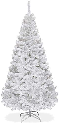 GYMAX 5FT/ 6FT/ 7FT/ 8FT Artificial Christmas Tree, Traditional White Xmas Tree with Metal Stand, Indoor Outdoor Christmas Decoration and Gift (6 FT + 650 Tips)