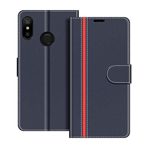 COODIO Handyhülle für Xiaomi Mi A2 Lite Handy Hülle, Xiaomi Mi A2 Lite Hülle Leder Handytasche für Xiaomi Mi A2 Lite Klapphülle Tasche, Dunkel Blau/Rot
