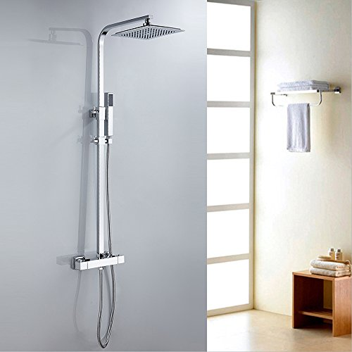 Interlink Duschset Duschsystem mit Thermostat Duscharmatur Regendusche Überkopfbrause Handbrause 123cm