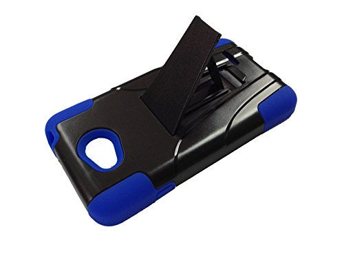 Dual Impact Kickstand Hybrid Double Layer Fusion Cover Case for LG Optimus Exceed 2 VS450PP / Realm / Pulse + Happy Face Phone Dust Plug (T-Stand Black-Blue)