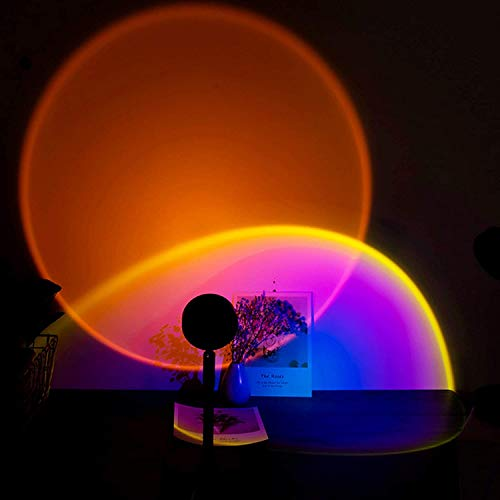 Lámpara LED de proyector de luz nocturna, lámpara de proyección de arco iris de rotación de 90 grados, luz nocturna romántica de puesta de sol para fiesta en casa sala de estar dormitorio,Sunset