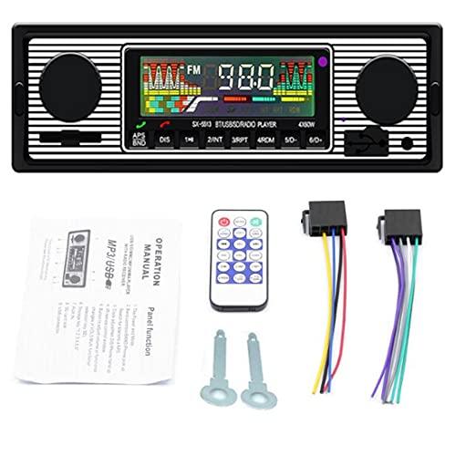 Autoradio Bluetooth, Radio para automóvil con USB   SD   AUX, FM con audio para automóvil, Reproductor multimedia MP3 Reproductor de MP3 digital Llamadas manos libres con control remoto inalámbrico