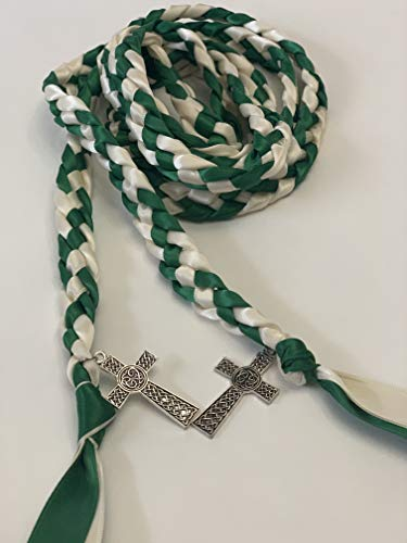 Emerald and Ivory Handfasting Cord Ceremony Braid- Celtic Cross- 6 ft -Wedding- Braided Together- Handfasting cord- Cross