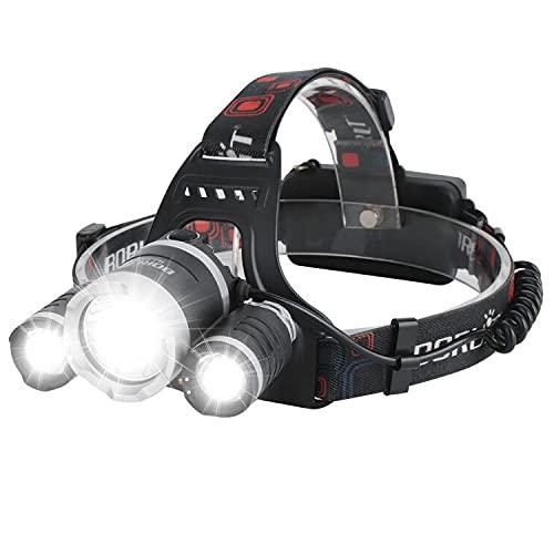BORUIT RJ-3000 Linterna Frontal Recargable LED 5000 lúmenes Frontal Cabeza con 4 Clips ,Impermeable Super Brillante Linternas frontales con 4 Modos para Casco, Pesca,Senderismo, Camping y Caza