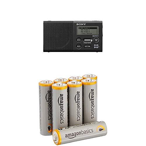 Sony XDR-P1DBP Taschenradio (DAB/DAB+, 20h Akku) mit AmazonBasics Batterien