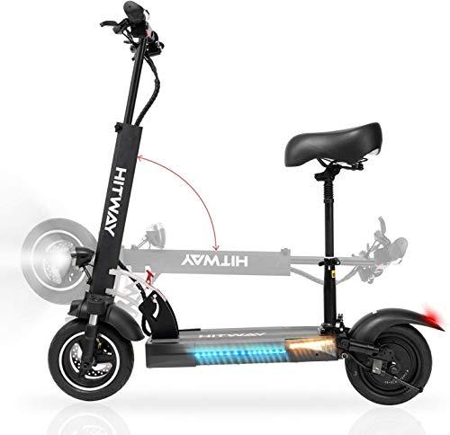 Patiente eléctrico HITWAY Scooter eléctrico para adultos, plegable, con asiento, scooter eléctrico plegable con pantalla LCD, altura ajustable, motores de 800 W, velocidad máxima 45 km/h