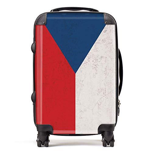 Vlag Tsjechië vlag Macedonië-koffer cabine met TSA Lock 4 draaibare wielen bagage tas 58 cm 52L