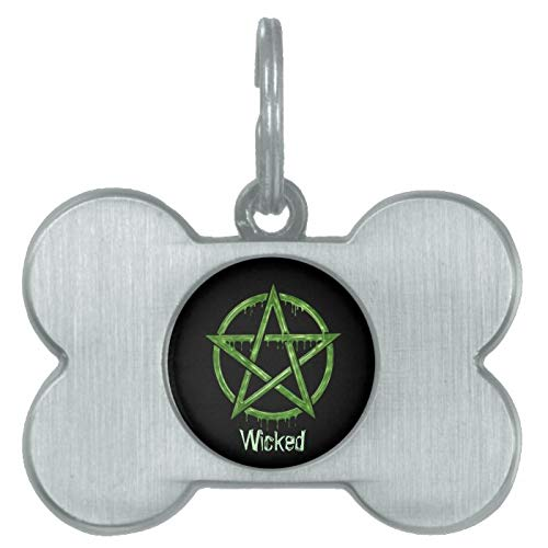 Stainless Steel Pet ID Tags, Wiccan Pet Green Personalized Pet ID Tag, Dog Tags, Cat Tags, Bone Shaped ID Tag for Dogs and Cat