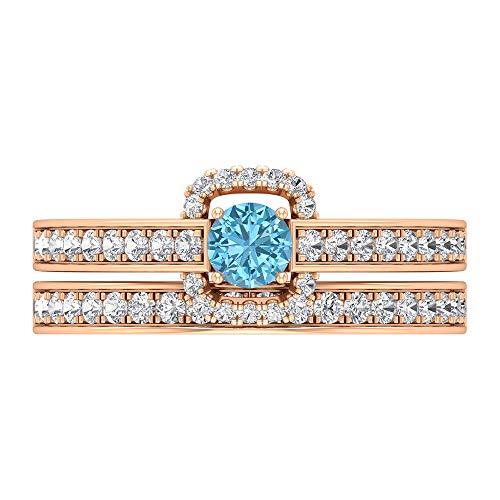 Juego de anillos de novia, anillo de compromiso de aguamarina, anillo de boda de diamante HI-SI, joyería de novia de oro (aguamarina de 4 mm), oro de 14 quilates, Metal, Diamond Aquamarine,