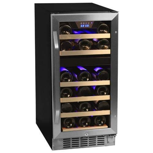 EdgeStar 26 Bottle Dual Zone Stainless Steel Built-In Wine Cooler -...