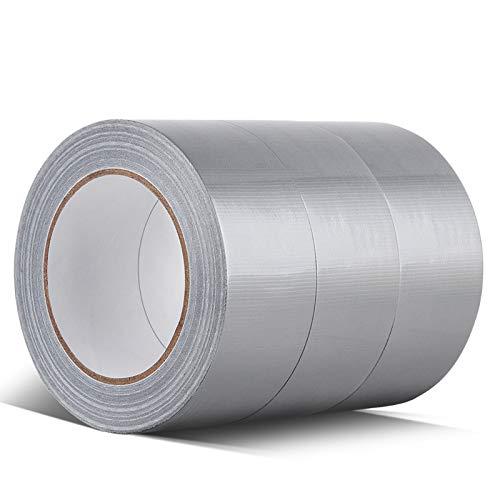 Professionell Gewebeband Panzerband extra stark, 48 mm x 32 m, 3 Rolle, silber, für Verpackung, Abdichten, Bündeln, Reparieren und Befestigen