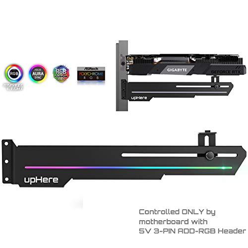 upHere Adressierbarer vertikaler universeller RGB-Grafikkartenhalter, Aerospace Aluminium, integrierter ARGB-Streifen, Unterstützung für Länge und Höhe einstellbar,GS05ARGB