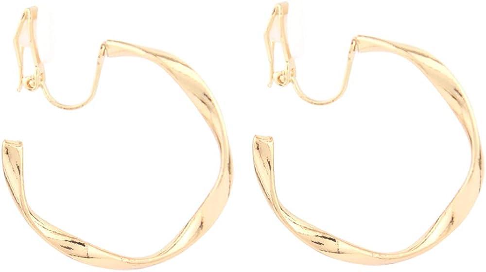 HAPPYAN Irregular Metal Earrings Big Hoop Earrings Clip on Earrings No Pierced for Women Bijouterie