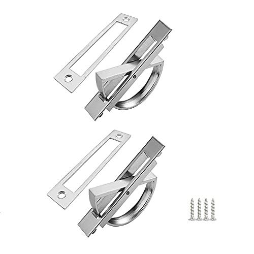 2 Pcs Tirador de Puerta Corredera, Tiradores Ocultos, Tirador Empotrado Puerta para Puerta Corredera, Cajón y Armario(Plata)