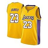 WANLN Maillot De Baloncesto Lebron James # 23 para Hombre, NBA Lakers, Maillot Swingman, Tela Bordada, Transpirable Y De Secado Rápido,Amarillo,S