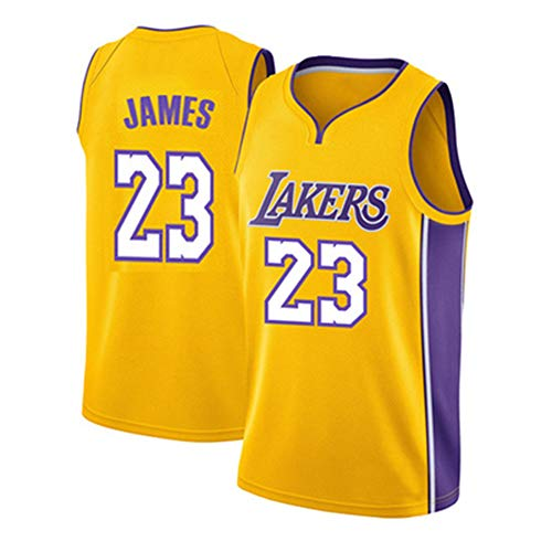 WANLN Maillot De Baloncesto Lebron James # 23 para Hombre, NBA Lakers, Maillot Swingman, Tela Bordada, Transpirable Y De Secado Rápido,Amarillo,S