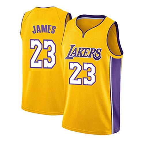WANLN Maillot De Baloncesto Lebron James # 23 para Hombre, NBA Lakers, Maillot Swingman, Tela Bordada, Transpirable Y De Secado Rápido,Amarillo,M