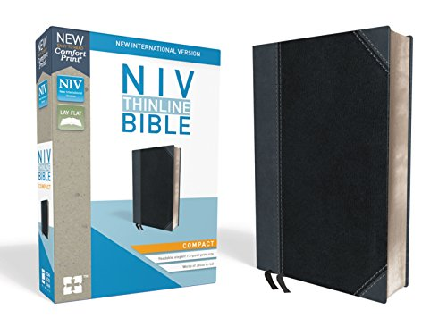 NIV, Thinline Bible, Compact, Leathersoft, Black/Gray, Red Letter, Comfort Print