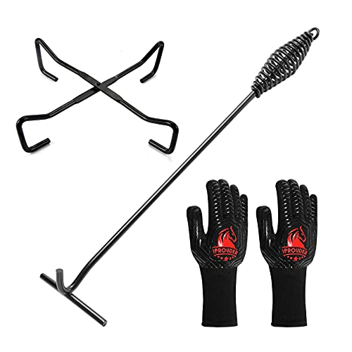 IPROUDER Dutch Oven Lid Lifter, Dutch Oven Lid Stand and Heat Resistant Gloves, Pot Stand, Trivet for Camping, Dutch Oven Tool Combo, Camp Cooking Accessories