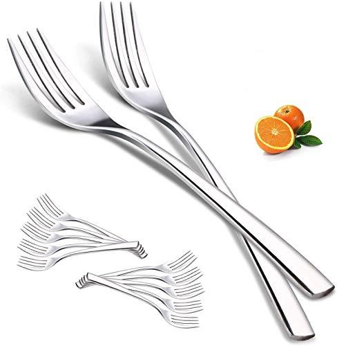 Fourchettes à Dîner, Elegant Life 12 pièces de Fourchette en Acier Inoxydable, pour Steak Viande Salade, Fourchettes à Couverts de Coutellerie Polies Miroir, pour la Maison Cuisine Restaurant, 20 cm