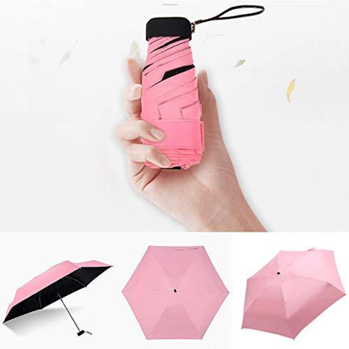 CRITY Regenschirm, Mini Tragbar Sonnenschirm Falten Taschenschirm Geeignet Sonne und Regen Winddicht Leichtgewicht Im Freien Sport Zubehör (Pink)