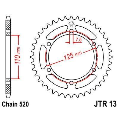 R1338 - Corona 13 Steel 38 Dientes Compatible con Cagiva Freccia C9 125 1987-1987