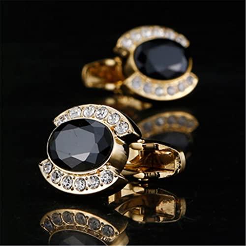 NMJKH Brazalete para hombre Botones de cristal de circonita negra Corrosión y antioxidación del brazalete dorado más duradero