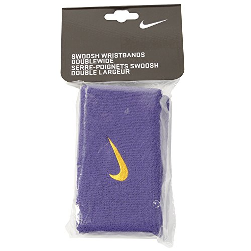 Nike Woosh Double Wide Wristbands512 - Pulsera de Sudor para Adulto, Color Morado y Amarillo